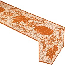 Rainlemon Fall Thanksgiving Day Table Runner with Maple Leaves and Pumpkin Autumn Family Gather Table Decoration