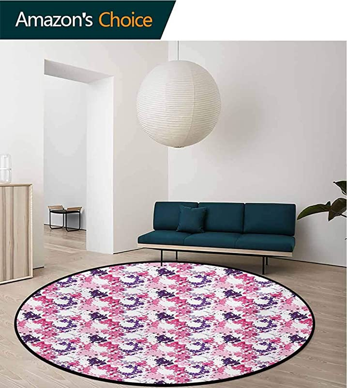 RUGSMAT Abstract Non Slip Area Rug Pad Round Paint Stains Expressionism Inspired Modern Artwork Surreal Shapes Pattern Protect Floors While Securing Rug Making Vacuuming Diameter 71 Inch