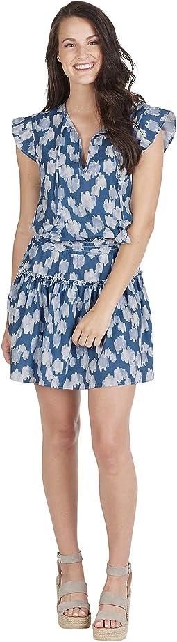 Mud Pie Danielle Flutter Dress Blue Large