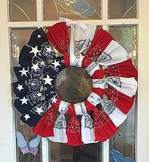 Red white and Blue patriotic bandana wreath. Flag. USA.