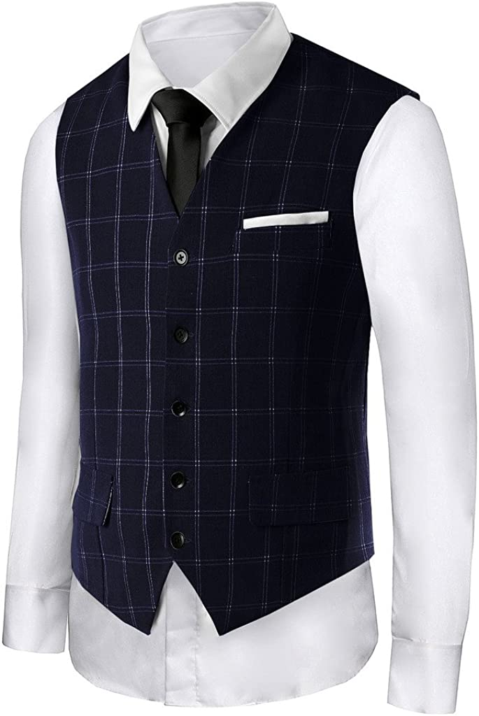 Hanayome Men's British Style Slim Fit Chain Point 5 Button Patry Dress Vest VS18