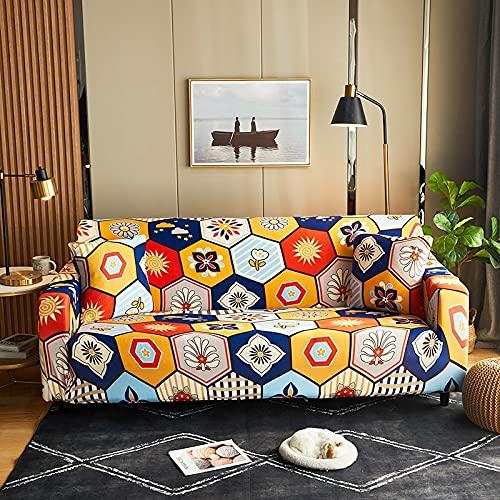 WXQY Funda de sofá elástica Estampada, Antideslizante, Suave, Creativo, Negro, patrón geométrico, Funda de sofá, Funda de sofá, A2, 3 plazas
