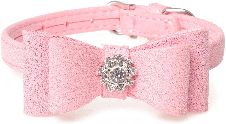 Pet Online Pet Collar Diamond Bow Suede Dog Collar,Pink,1.3×2632CM
