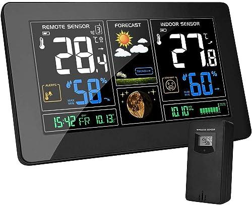 MOHOO Station Météo avec Capteur sans Fil Thermomètre Hygromètre Baromètre Numériques Intérieure Extérieure Phase de ...