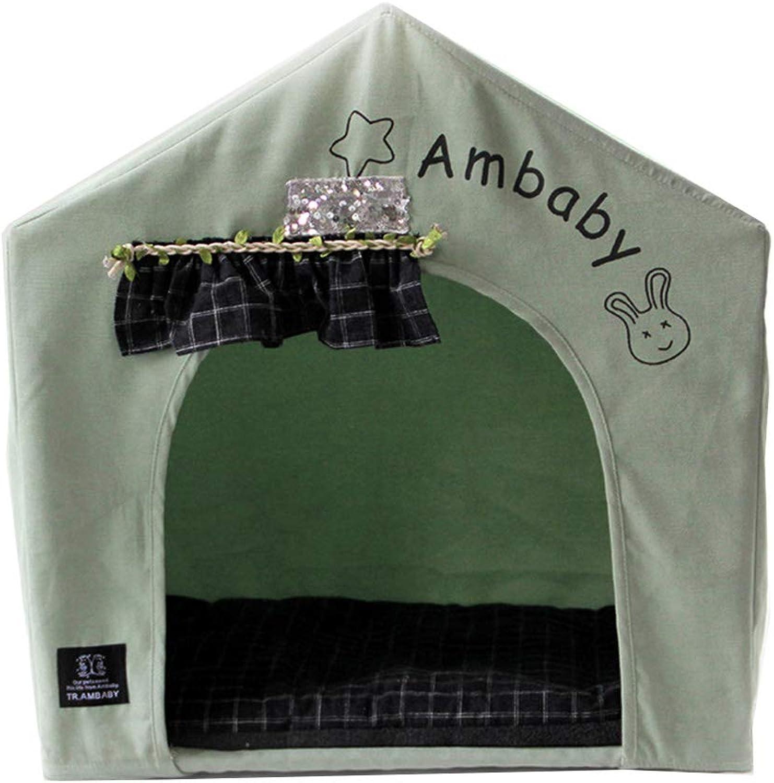 Pet Tent Cat Dog Rabbit Pet Pig Nest Pet House Detachable Cotton Mat Breathable Green Cute Style