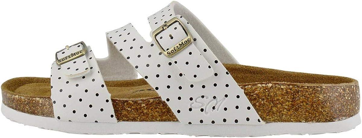 SoftMoc Women's Avalon 5 Polka Dot Cork Footbed Slide Sandal Wht Dot 8 Medium US