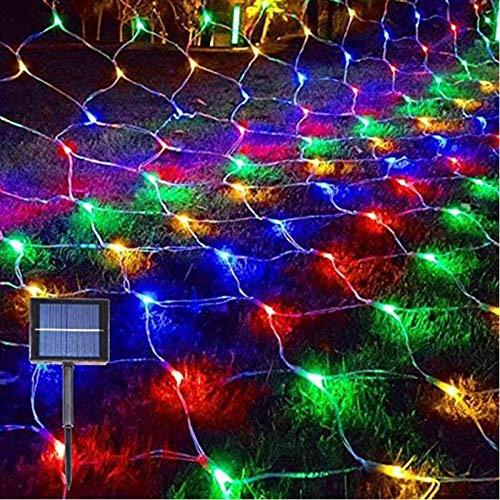 Juesi Christmas Mesh Net Lights, Solar Xmas Lights Outdoor Bush Lights Tree Netting, Fairy Lights for Garden, Patio, Window, Fence, Bush, Christmas Tree (Multicolor)