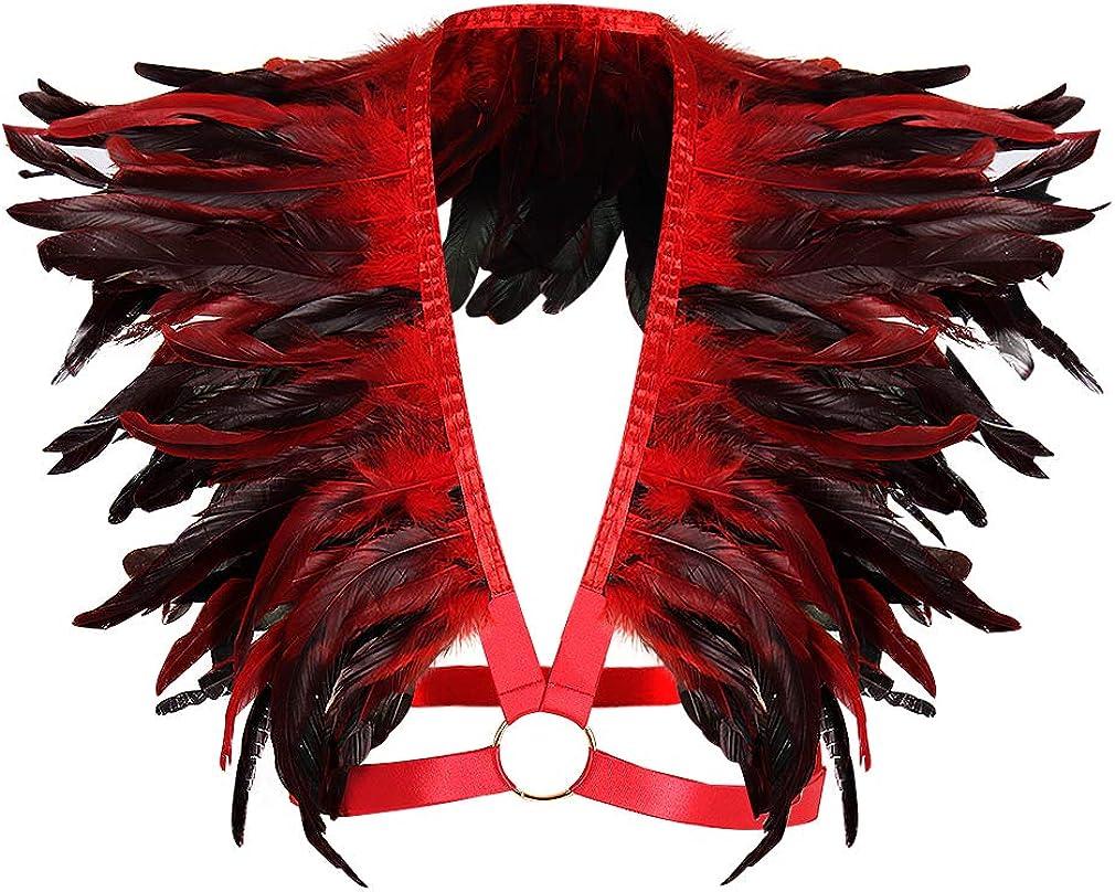 Men's Feathers Body Harness Epaulettes Shoulder Wings Punk Gothic Tops Burning Garter Belt Art Clothing