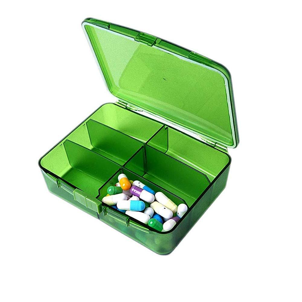 FRYH Organizador Portátil De Caja De Pastillas Estuche De Pastillas De Viaje con 6 Compartimentos para Contener Vitaminas Aceite De Pescado Suplementos Y Medicamentos,Green: Amazon.es: Hogar