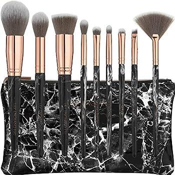 Lily England Set de Brochas de Maquillaje de Mármol con Estuche | 9 Brochas de Maquillaje Profesionales para Ojos y Rostro - Mármol Negro y Oro Rosa: Amazon.es: Belleza