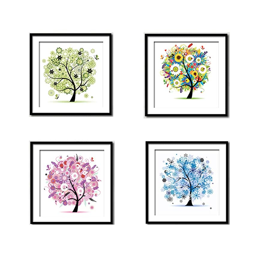 4-Pack DIY Diamond Painting, 5D Four Seasons Tree -11.8