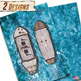 Battle Grid Game Mat - (1) Double Sided 24x36 - Portable Dungeons and Dragons RPG Tabletop Role-Playing - DND Figure Accessories - Ghosts of Saltmarsh - Dry Erase Reusable Board Map (Ship/Ocean)