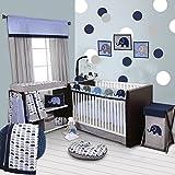 Bacati 10 Piece Boys Elephants Nursery-in-A-Bag Boys Crib Bedding Set with Long Rail Guard, Blue/Grey