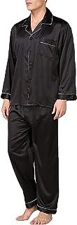 Men's Silk Pajama Sets Long Sleeve Satin Button Down Sleepwear Tops Pant 2Piece Nightwear Loungewear Set