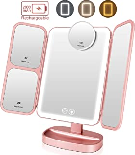 EASEHOLD Makeup Vanity Mirror Rechargeable with 3 Color 66 LEDs Lights Cosmetic Beauty Portable Trifold 2x/5x/10x magnifying Touch Screen 180° and 90° Rotation Tabletop Desk Face Mirror Rose Gold