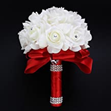 Antrader Artificial Wedding Holding Bouquet Flowers Roses Crystal Rhinestone Bridal Silk Throw Bouquet Red