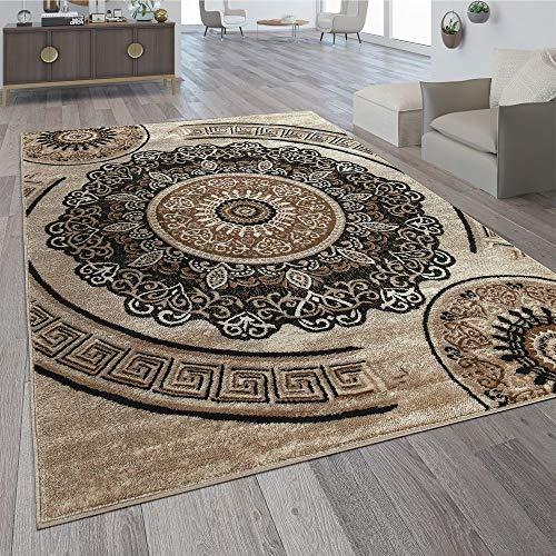 Paco Home Designer Wohnzimmer Teppich Orientalisch Mandala Motive Braun Beige, Grösse:240x340 cm