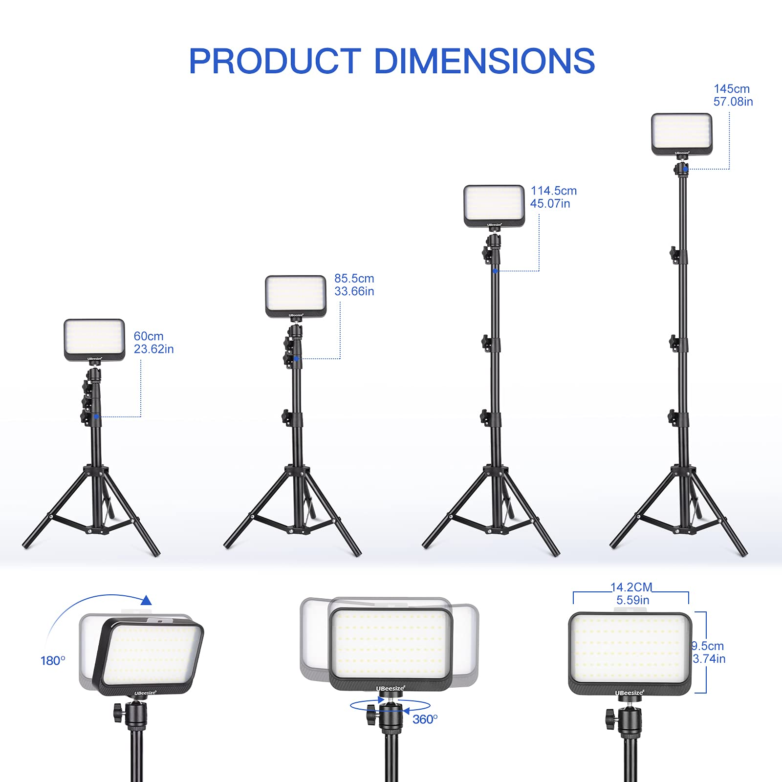 UBeesize LED Video Light Kit, 2Pcs Dimmable Continuous Portable Photography Lighting with Adjustable Tripod Stand & 5 Color Filters for Tabletop/Low-Angle Shooting, for Zoom, Game Streaming, YouTube