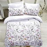 Carisder Full/Queen Duvet Cover Set Floral Soft White Comforter Cover Set 3 Pieces Bedding Sets (Floral Queen)