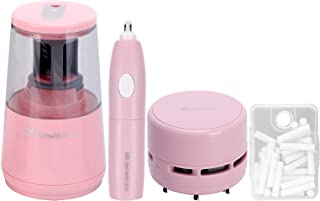 tenwin Electric Pencil Sharpener Eraser Vacuum Cleaner Set Stationery Set Power Cord/Battery Operated with 50 Eraser Refil...