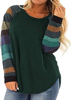 Womens Plus Size Long Sleeve Tunic Crewneck Colorblock...
