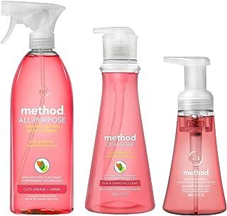Method Kitchen Basics Bundle | 1 Dish Soap, 1 Hand Soap, 1 All Purpose Cleaner (Pink Grapefruit)