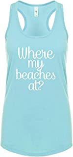 Trenz Shirt Company Funny Where My Beaches at Graphic Ladies Ideal Fit Racerback Tank Top-Cancun