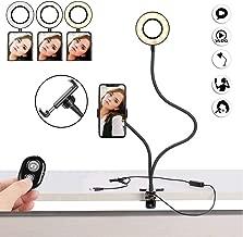 Photo Studio Selfie LED Ring Light with Cell Phone Holder for YouTube Live Stream Makeup Camera Lighting Including Selfie Remote Shutter, Flexible Arms Mobile Phone Clip Bracket Desk/Bedside Lamp
