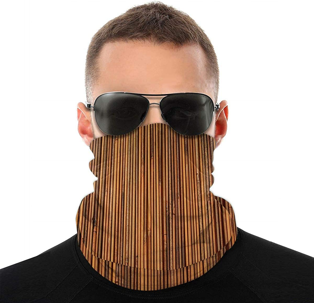 KiuLoam Vintage Bamboo Natural Texture Print Seamless Face Mask Bandanas Neck Gaiter for Men and Women, Multifunction Headband Scarf for Dust, Outdoors, Sports