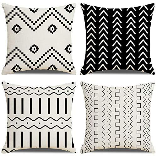 LAXEUYO Funda de Cojín,algodón Lino Cojines para Sofa,Estilo Geométrico Fundas Cojines 45x45