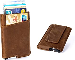 RFID Minimalist Aluminum Wallet Automatic - Slim Money Clip Credit Card Holder Genuine Leather Wrapped Pop Out (Crazy Horse Brown)