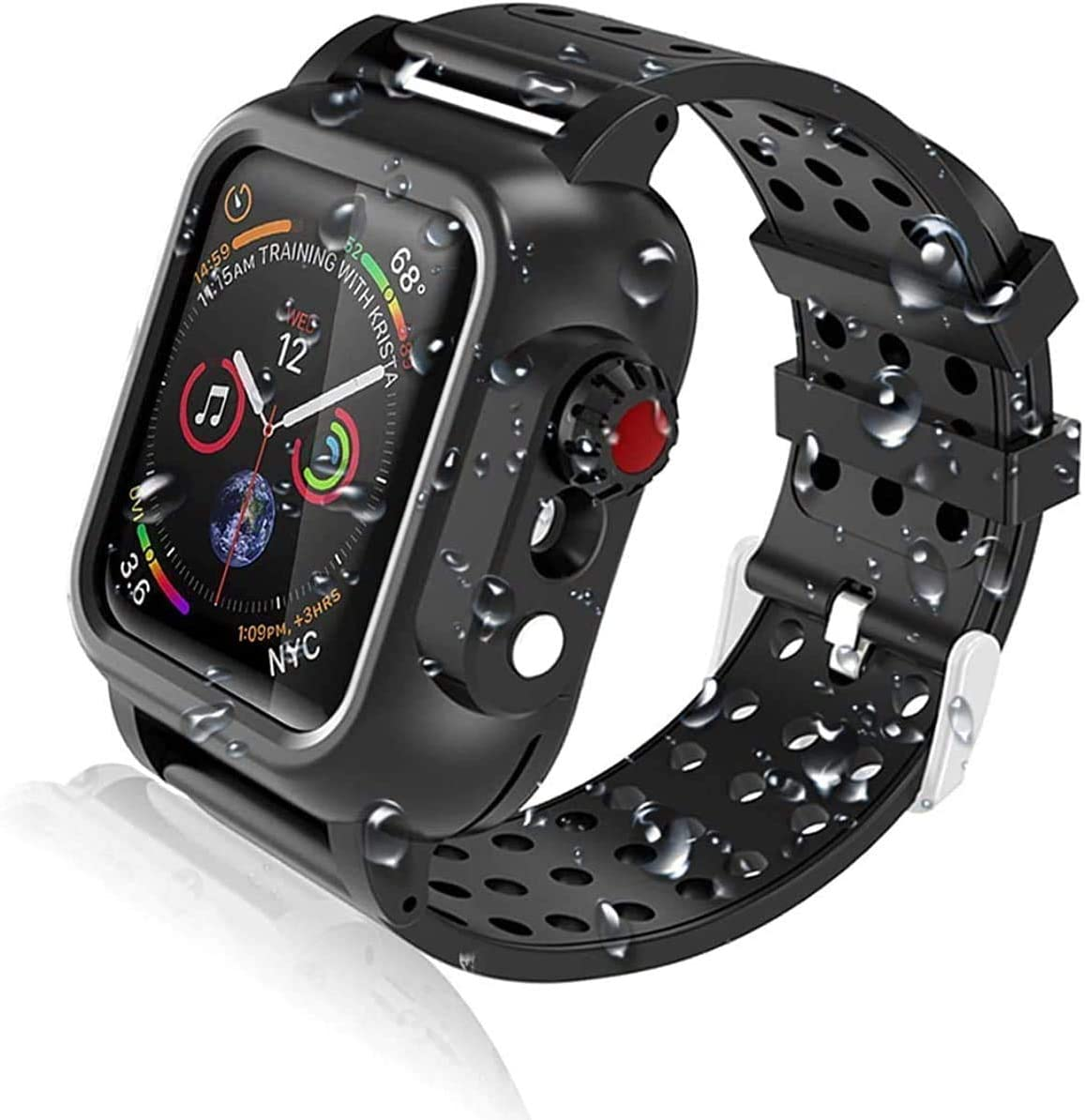 Waterproof Apple Watch Series SE/6//5/4 44mm Case with 2PCS Premium Soft Bands,Shockproof Impact Resistant Rugged Protective Case Bulit-in Screen Protector for Apple Watch Series 4/5/6/SE 44mm (44mm)