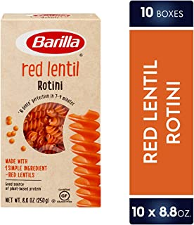 Barilla Red Lentil Pasta, Gluten Free Pasta, Rotini, 8.8 oz (Pack of 10)