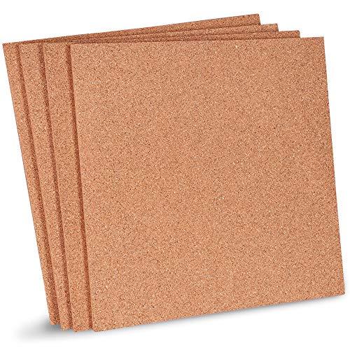 Juvale Korkplatten (Set, 4 Stück) - Für Zuhause oder Büro - Ideal für Pinnwände/Schwarzes Brett, Modellbau, als Unterlage, zum Basteln - Naturfarben - 30,5 cm x 30,5 cm