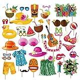 38pcs Luau Photo Booth Props - Hawaiian/Tropical/Tiki/Summer Pool Party Decorations Supplies