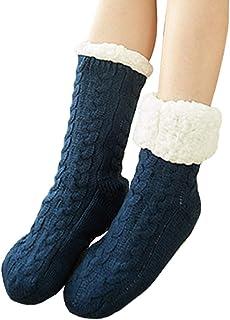 YONKINY, Calcetines Termicos Grueso Mujer Invierno Calientes Calcetines de Lana Antideslizantes Estar por Casa Zapatillas Calcetines de Punto Forro Polar Regalos de Navida