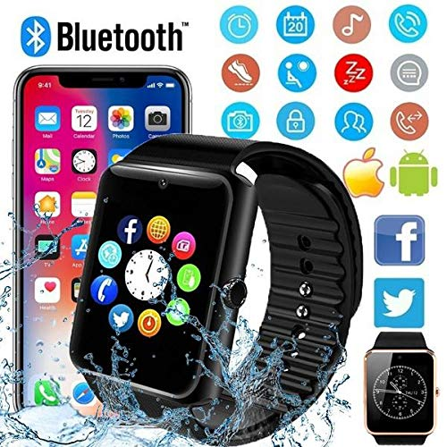 MTOFAGF Bluetooth Smart Watch Touch Screen Wrist Watch with Camera/Sim Card,Waterproof Sports Fitness Trac MTOFAGF Brings You The Best (Color : Black)