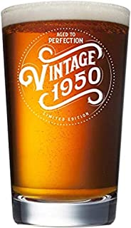 1950 69th Birthday Gifts for Men and Women Beer Glass - 16 oz Funny Vintage 69 Year Old Pint Glasses for Party Decorations - Anniversary Gift Ideas for Dad, Mom, Husband, Wife - Best Craft Beers Mug