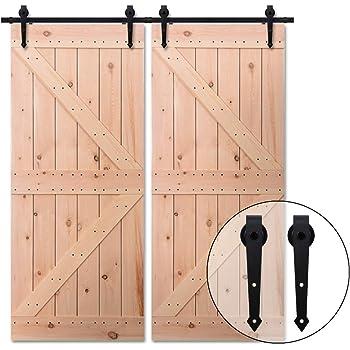 152CM/5FT Herraje para Puerta Corredera Kit de Accesorios para Puertas Correderas Juego de Piezas,para puerta doble,negro: Amazon.es: Bricolaje y herramientas
