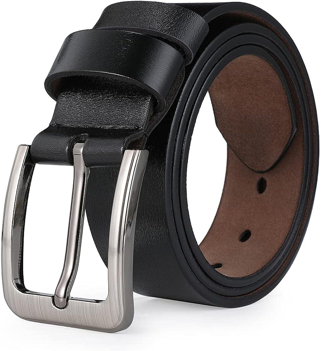 VRLEGEND Cinturones Casual Hombre Cinturón Vintage Cuero Genuino,Traje Para Jeans & Ropa Casual & Ropa de Trabajo & Ropa Formal