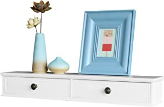 WELLAND Floating Shelves Wall-Mounted Storage Shelf 2 Drawers Entryway White Wall Shelf, A/V Components Other Media Accessories (32inch)