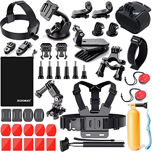 Zookki Camera Accessories Kit for Gopro Hero 7 6 5 4 3, Sports Accessories Kit for SJ4000/SJ5000/AKASO EK5000 EK7000/Xiaomi Yi 4K/WiMiUS Black Silver
