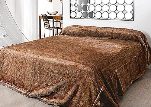 Linder 5034/55/841 Jeté de Lit Imitation Fourrure Acrylique/Polyester Marron 250 x 260 cm