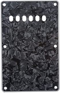 Musiclily 6 Hole Guitar Back Plate for China Made Squier, 4Ply Black Pearl