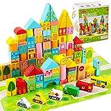 Onshine 100 Pièces Bloc de Construction en Bois, Petit Cube Jouet Bebe, Boite avec Trieur de Forme, Jeux Puzzle Educatif Enfant 3 4 5 Ans