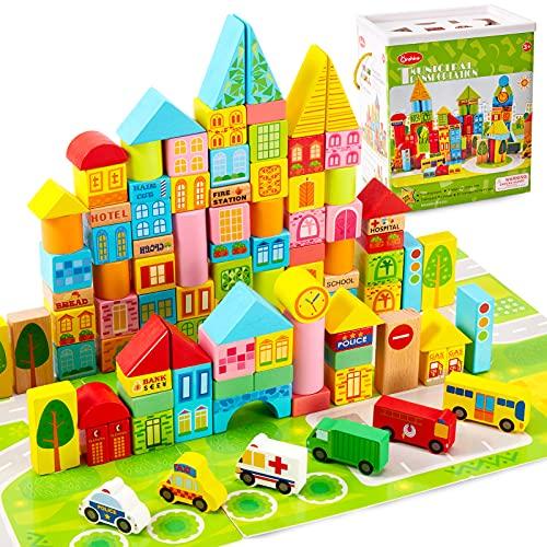 Onshine 100 Piezas Bloques Construccion Madera Ninos con Puzzle Juguetes Clasificador de Formas Apilables Bloques de Madera para Niños Niñas Bebé