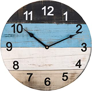 Large Wall Clock, 18 Inch Creative 4 Color Blocks Spliced Wooden Clock Face Vintage Distressed Solid Rustic Decorative Silent Clock for Indoor/Living Room/Dining Room/Bedroom/Kitchen