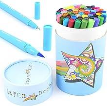Super Doodle Dual Tip Coloring Markers Fineliner Brush Pens - 60 Color Water-Based Art Marker Pen Set for Bullet Journal, ...