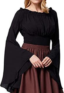 Womens Renaissance Blouse Off Shoulder Trumpet Sleeve Peasant Tops Medieval Victorian Costume