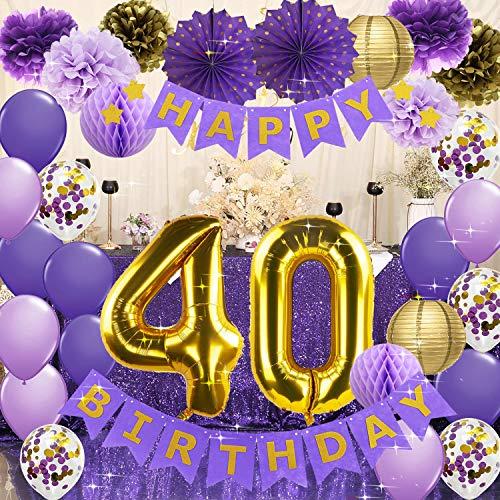 40th Birthday Decorations for Women Purple Gold Happy Birthday Banner Purple Gold Confetti Balloons 40 Balloons for Women 40 Years Old Party Decorations Purple Gold
